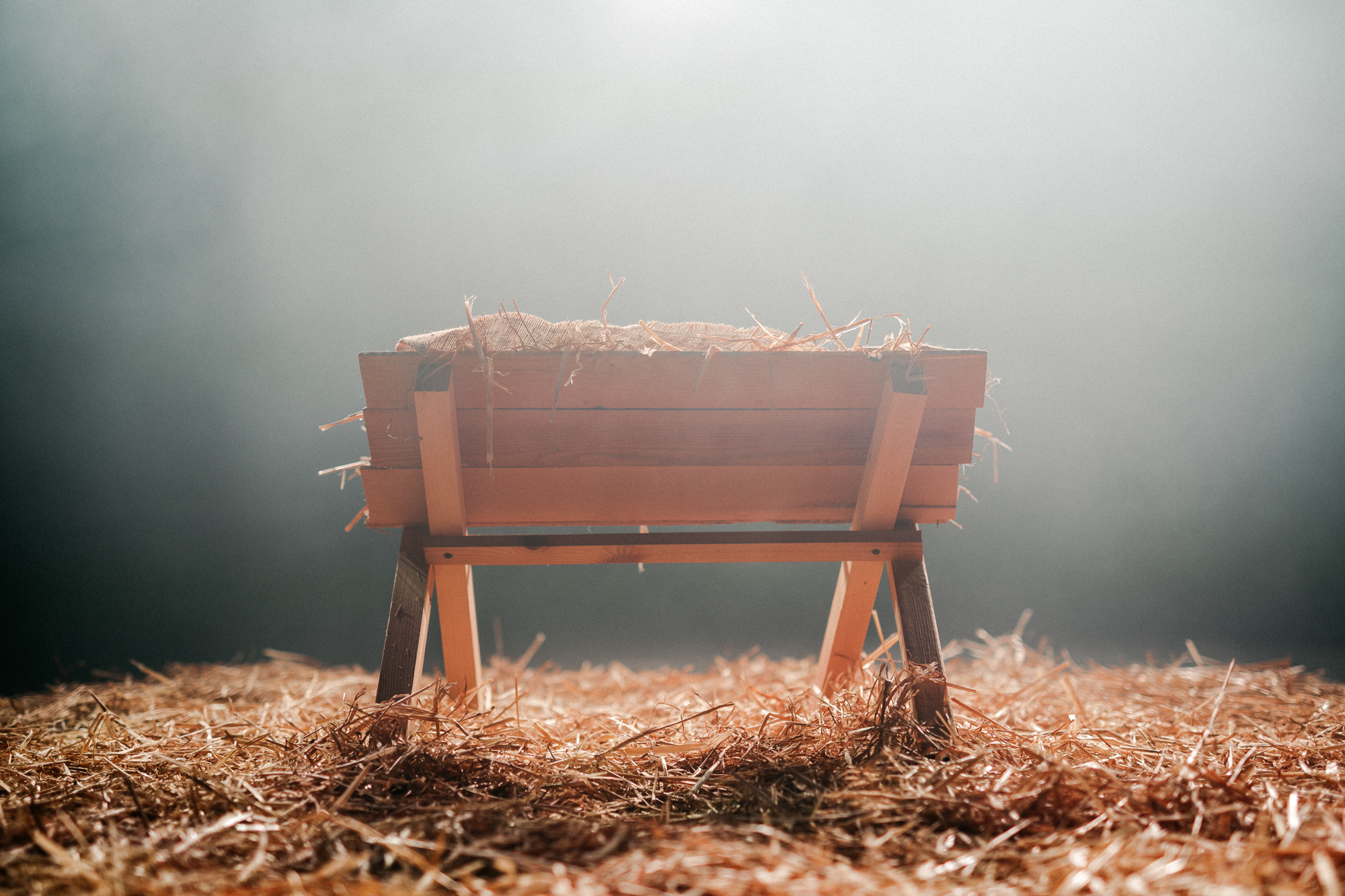 Christmas Manger with Hay