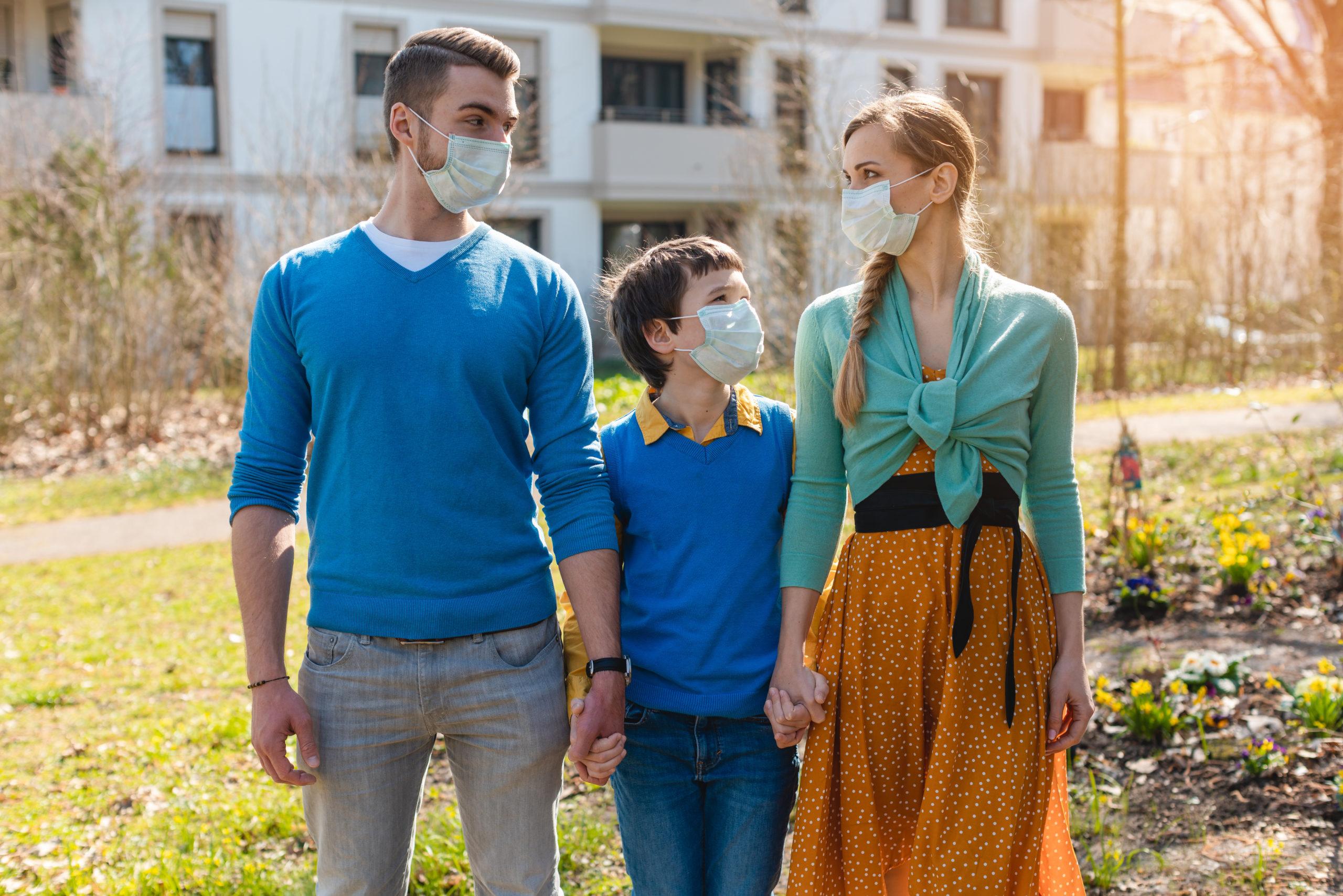 Family during coronavirus crises having a walk