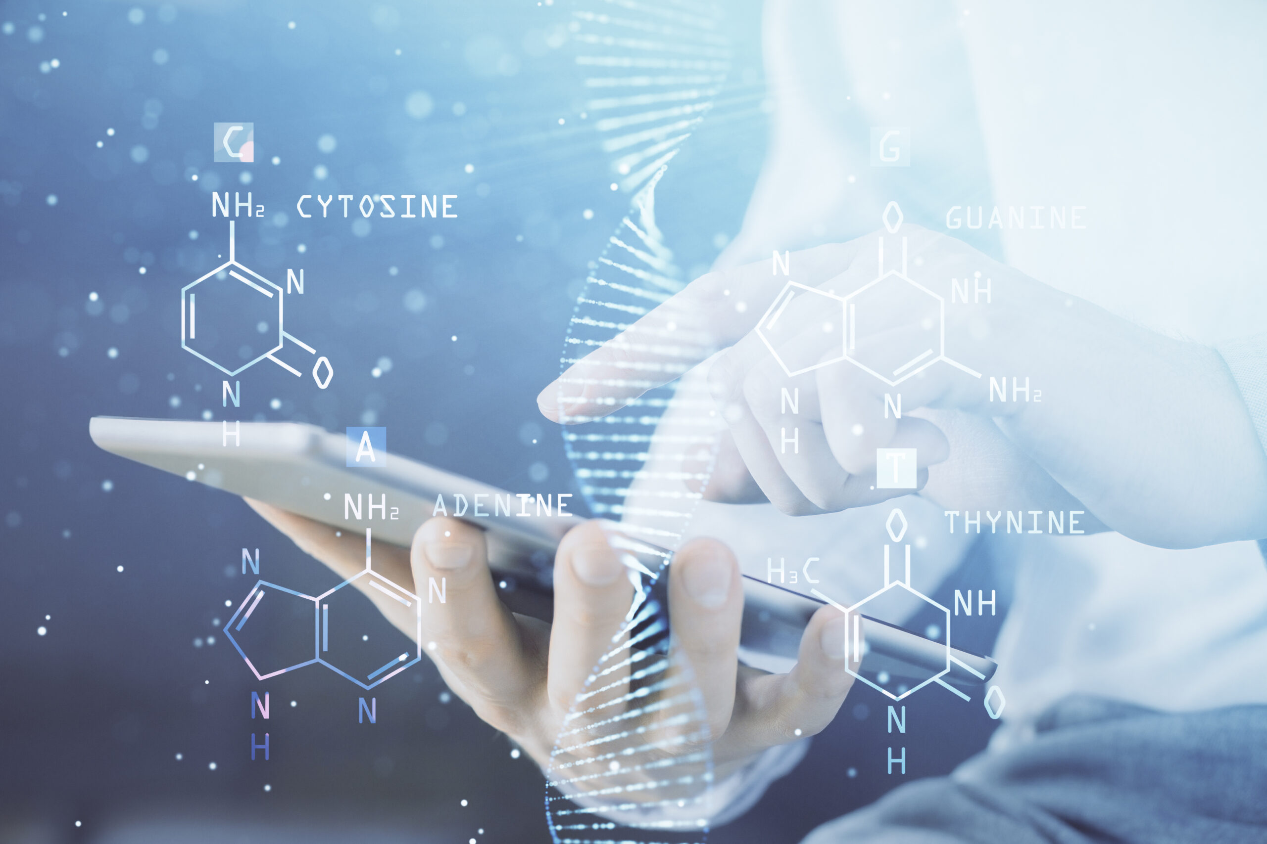 Double exposure of man's hands holding and using a phone and DNA drawing. Medical education concept.
